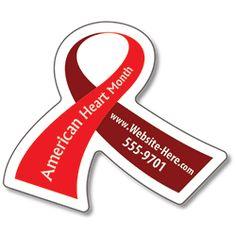 Heart Disease Awareness Magnet - Ribbon Shape (2.6875x2.25) - 25 Mil.