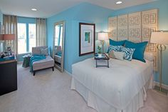 , Contemporary Turquoise Bedroom Ideas With Enchanting Double Bed Design Also White Sheets Color Also Light Gray Modern Padded Armless Chair Also Light Gray Wall To Wall Carpeting Design Also Elegant Floor Mirror: Easy and Simple Turquoise Bedroom Ideas Turquoise Furniture, Bedroom Turquoise, Blue Bedroom, Tomboy Bedroom, Home Design, Interior Design, Design Ideas, Double Bed Designs, Light Grey Walls