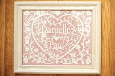 Handmade Personalised Papercut - Perfect Valentines Gift