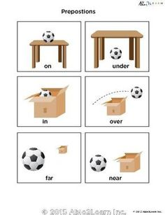 Prepositions - Learn Prepositions Flashcards PAGES 3 – Prepositions English Grammar For Kids, Learning English For Kids, Teaching English Grammar, English Worksheets For Kids, English Lessons For Kids, English Verbs, Spanish Lessons, Learning Spanish, Preposition Pictures