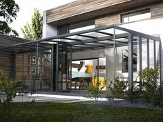 Very modern glass extension with aluminium frame attatched to a modern design wood clas house. Modern Conservatory, Conservatory Extension, Glass Conservatory, Pergola With Roof, Patio Roof, Pergola Patio, Pergola Ideas, Cedar Pergola, Pergola Plans