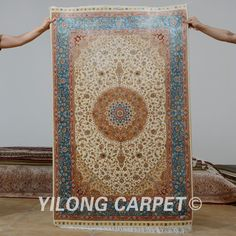Yilong 3 X4 5 Antique Persian Silk Dark Blue Tabriz Carpet Exquisite Whole Oriental Rugs 0573 Pinterest Rug And