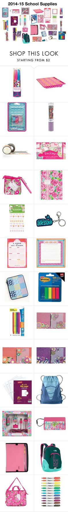 """""""2014-15 School Supplies"""" by victoria-n-w ❤ liked on Polyvore featuring Jonathan Adler, Kate Spade, Lilly Pulitzer, Paper Mate, Vera Bradley, NIKE, Mead, Sharpie and Avery"""