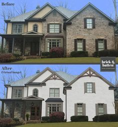 This beauty needed a new color scheme to update the brick and create a cohesive look. What colors work well with stone? The wood accents were not showcased well on the previous design. Stucco Homes, Stucco Exterior, House Paint Exterior, Exterior Design, Home Exterior Makeover, Exterior Remodel, Outside House Colors, Facade House, House Facades
