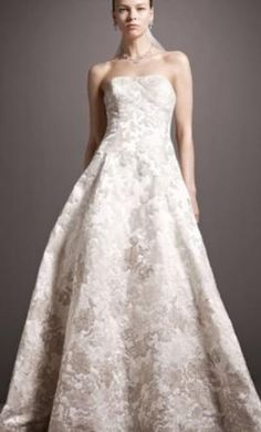 Oleg Cassini Satin Ball Gown Ombre Beaded Lace Appliques/CWG504 wedding dress currently for sale at 79% off retail.