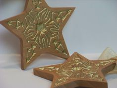 Wooden Ornaments Gold Star by PalmerUnionDesign on Etsy, $19.00