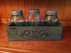 Old sewing machine drawer chalk painted! Can't wait for Spring to fill jars with hydrangea.