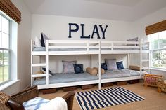 Smaller Bunkbeds that would fit the length of the room, butted together, lighting for each bed and shelves...
