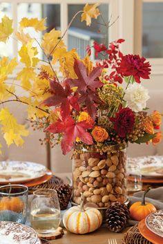 composition florale déco table feuille morte