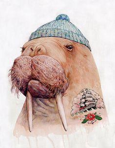 TATTOOED WALRUS Art Print, Walrus Illustration, Modern Wall Art, Giclee, By Animal Crew on Etsy, €16.56