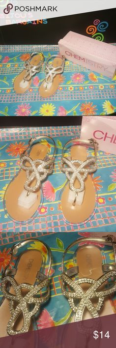*NEW* CHEMISTRY BLING SANDALS SZ 6 *NEW* CUTE SANDALS W/BLING - GREAT FOR SUMMER - CLEAR JELLY BOTTOM - SZ 6 - COMES W/ BOX CHEMISTRY  Shoes Sandals