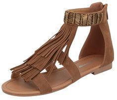 Forever - Women's Fringe Sandals - Tan