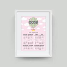 Nursery Calendar 2018 Calendar Wall Calendar Hot Air