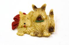 Vintage Celluloid Scotty Dog Pin, Scottie Mother and Puppy Brooch Red Bow & Green Collar, Cream Brown, 1930s