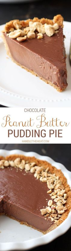 Chocolate Peanut Butter Pudding Pie - Like a giant REESE'S peanut butter cup but with PUDDING! We ate the whole thing! Peanut Butter Desserts, Chocolate Desserts, No Bake Desserts, Just Desserts, Delicious Desserts, Dessert Recipes, Baking Desserts, Chocolate Pudding, Homemade Chocolate