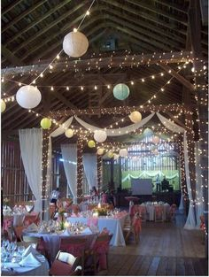 globe lights, lanterns, christmas lights, and drapery for barn party Wedding Reception, Rustic Wedding, Our Wedding, Wedding Venues, Dream Wedding, Wedding Ideas, Wedding Church, Indoor Wedding, Wedding Beauty
