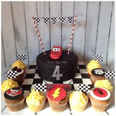 Lightening McQueen Cake and Cars Cupcakes