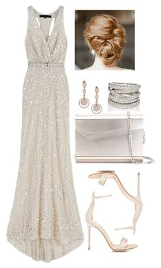 A fashion look from November 2016 featuring sequin cocktail dresses, embellished sandals and metallic purse. Browse and shop related looks. Event Dresses, Ball Dresses, Prom Dresses, Wedding Dresses, Dressy Outfits, Stylish Outfits, Work Outfits, Looks Chic, Elegant Outfit