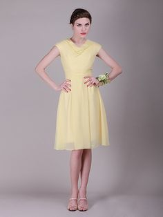 Simple Cowl Neck Chiffon Vintage Bridesmaid Dress | 15% off, plus FREE Custom Made! 10+ measurements required for a perfect fit, no matter what sizes you are in!
