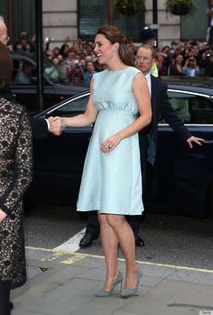 The classic Emilia Wickstead cocktail dress is the most formal of her maternity looks so far and cut in a more traditional style for pregnant women.