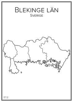 Blekinge. Sweden. Map. City print. Print. Affisch. Tavla. Tryck. City Maps, My Heritage, Sweden, Illustrations, Prints, Velvet, Pictures, Illustration, Illustrators