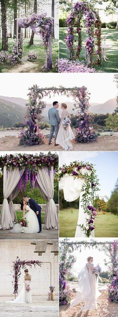 2019 Brides Favorite Purple Wedding Colors---purple wedding arches for outdoor c. 2019 Brides Favorite Purple Wedding Colors—purple wedding arches for outdoor ceremony, diy weddin Wedding Ceremony Floral Arch, Ceremony Arch, Outdoor Ceremony, Outdoor Wedding Arches, Country Wedding Arches, Wedding Venues, Wedding Aisles, Wedding Backdrops, Wedding Ceremonies