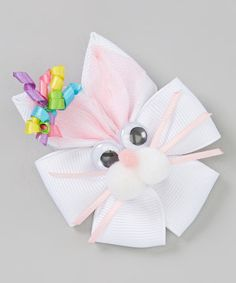 Another great find on #zulily! White & Pink Korker Bunny Clip by Picture Perfect Hair Bows #zulilyfinds