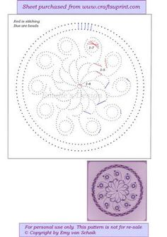 ED115 Floral mandala on Craftsuprint designed by Emy van Schaik - Stitching with beads - Now available for download!
