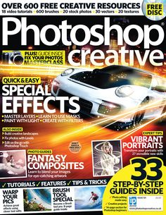Photoshop Creative, Issue 101. This issue is packed with tutorials galore. Learn how to make a speedy car scene out of old photos and a spot of imagination. With the print edition, the free disc comes with more brushes you could ever wish for!
