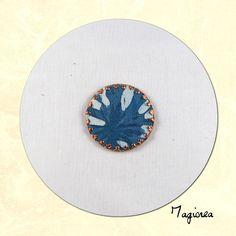 cabochon de soie rond bleu diamètre 2.5 cm C020