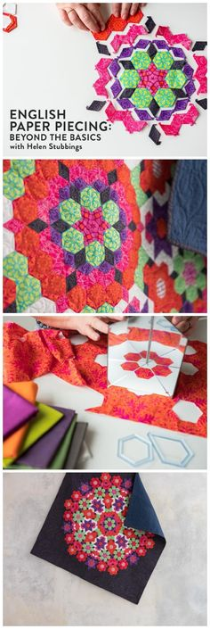 English Paper Piecing: Beyond the Basics. Go beyond the hexagon and see how fussy cutting takes your piecing to the next level. Learn EPP. Affiliate link.