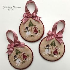 Stitching Dreams: Another year older. Fabric Christmas Ornaments, Felt Christmas Decorations, Christmas Sewing, Christmas Cross, Xmas Cross Stitch, Just Cross Stitch, Cross Stitch Finishing, Cross Stitching, Modern Cross Stitch Patterns