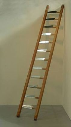 Marina Abramovic Ladder, 1995 wood and knives