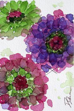 Floral Print Art, aquarelle originale botanique Art Print, fleurs colorées