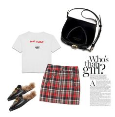 Mall look by jeafil on Polyvore featuring polyvore, fashion, style, Yves Saint Laurent, Gucci, Burberry, clothing, cute, chic, comfort, plaid and needcoffee