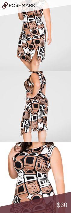 FRONT SLIT GEO PRINT DRESS Nail a fab work look by pairing this geo print plus size dress with a sharp asymmetrical blazer.  Crew neck. Cap sleeves. Front slit. Asymmetrical hem. Jersey knit. Plus size 18/20  95% polyester 5% spandex. Ashley Stewart Dresses Asymmetrical