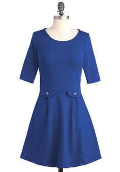 You Guest It Dress in Blue - Short, Blue, Solid, Work, A-line, 3/4 Sleeve, Fall