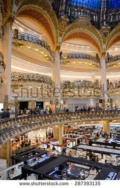 PARIS, FRANCE - JUN 6, 2015: Galeries Lafayette city mall. It was open in 1912