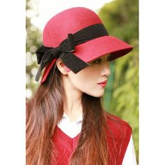 Designer Red Wool Church Dress Bucket Hats Women Formal Clothing Shop