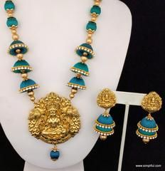 Silk Thread Goddess Lakshmi Pendant Necklace and Double layer Jhumka Earring set - Simpliful