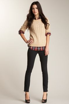 red plaid shirt, sweater, skinny jeans and heels. Hot warm look ;)