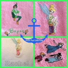 Shop for on Etsy, the place to express your creativity through the buying and selling of handmade and vintage goods. Peter Pan Bedroom, Tinker Bell, Bath Towels, Embroidery, Disney, Handmade Gifts, Collection, Etsy, Kid Craft Gifts