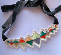 Embroidered diamond triangles necklace multicolored with ribbon ties modern jewelry. $40.00, via Etsy.
