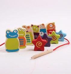 卡通外星人美人鱼串珠 儿童益智玩具 1-3岁宝宝手眼协调训练