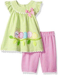Bonnie Baby Baby Girls Seersucker Playwear Set With Applique