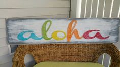 ALOHA! And thank you for visiting my shop!  Aloha is a Hawaiian word used for hello and goodbye but its not just a greeting, it is a way of life! Aloha is a way of living and treating others with love and respect. In Hawaii, the spirit of Aloha is considered a state law.  This wooden Aloha sign has been created with the spirit of Aloha with inspiration from the rainbow state! This piece would make an awesome gift for a friend, family, co-workers, or just someone who needs a little bit more…