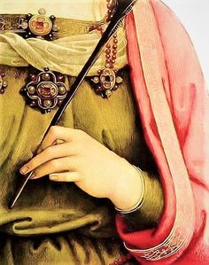 Saint Catherina of Alexandria - detail of Virgin and Child with Saint Rose and Saint Catherine of Alexandria with two Angels by Pietro Perugini