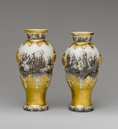 Vases - Meissen Manufactory (German, 1710–present) - Böttger Period (1713–1720), Decorator: Ignaz Preissler (1676–1753), ca. 1720–25, German (Meissen), Hard-paste porcelain, Dimensions: Overall (confirmed): 8 11/16 x 4 7/16 x 3 13/16 in. (22.1 x 11.3 x 9.7 cm)
