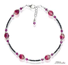Handcrafted Knockout Rose Crystal Beaded Anklet