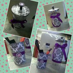 I made these using scrapbook paper, ribbon, rhinestones and mod podge. The barbicide jar was given to me so it was free and the small one is an aluminum can! (: